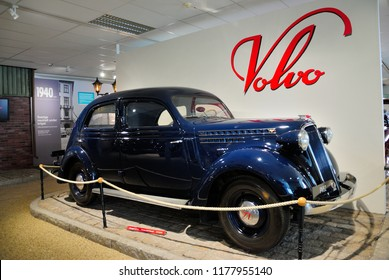 Gothenburg, Sweden - August 7, 2018 - Volvo PV series car (1937-1949) at the Volvo Museum in Gothenburg