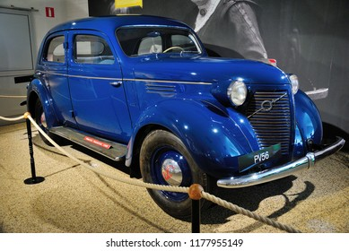 Gothenburg, Sweden - August 7, 2018 - Volvo PV series car (1937-1949) at the Volvo Museum in Gothenburg