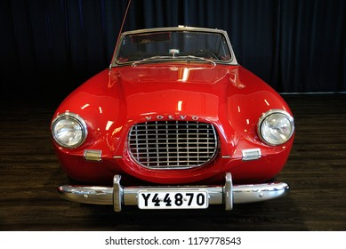 Gothenburg, Sweden - August 7, 2018 - Red Volvo Sport (1956) at the Volvo Museum in Gothenburg