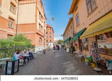 "Gothenburg - Sweden. Circa August, 2019:  Popular area named ""Haga"" with shops and restaurants in central city."