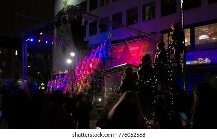 Gothenburg - Sweden. Circa December, 2017: Christmas choir is singing in central Gothenburg.