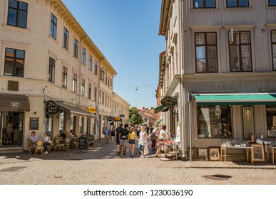 """Gothenburg - Sweden. Circa June, 2018: Popular walking street with shops in the part of the city named """"Haga""""."""