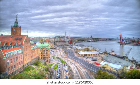 "Gothenburg - Sweden. Circa October, 2018: Panoramic view over central Gothenburg close to the river named ""Göta älv"".  Building closest in view is an old navigation school building."