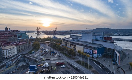 Gothenburg - Sweden. Circa October, 2018: View over busy building site and Gothenburg opera house in the foreground with cityscape in the background.