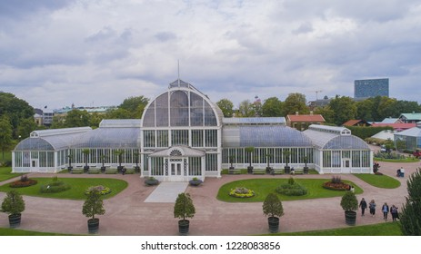 "Gothenburg - Sweden. Circa October, 2018: Popular victorian green house in central Gothenburg. It is located in the park named ""The Garden Society of Gothenburg"" or in Swedish ""Trädgårdsföreningen"","