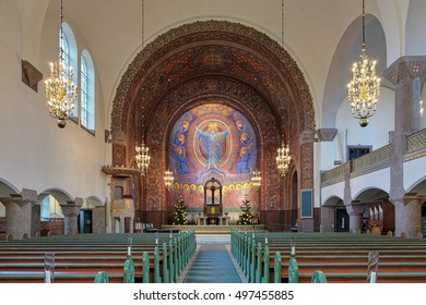 GOTHENBURG, SWEDEN - DECEMBER 16, 2015: Interior of Vasa Church. The church in Neo-Romanesque and Art Nouveau styles by design of the Swedish architect Yngve Rasmussen was inaugurated on April 4, 1909
