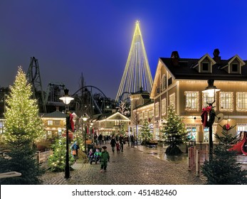 GOTHENBURG, SWEDEN - DECEMBER 17, 2015: Liseberg amusement park with Christmas illumination. It is one of the most visited amusement parks in Scandinavia and the most famous Christmas Market of Sweden