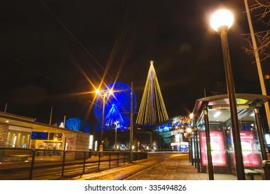 GOTHENBURG, SWEDEN - DECEMBER 26: Amusement Park Liseberg with christmas decorations at night on December 26, 2014