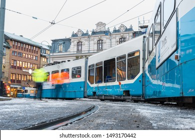 Gothenburg, Sweden - december6 2013: The result of a tram derailment.