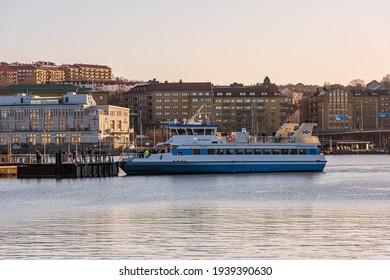 "Gothenburg, Sweden - January 19 2020: The passenger ferry ""Älvsnabben 4"" departing Slottsberget."