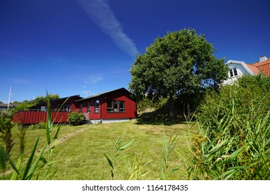 GOTHENBURG, SWEDEN - july 20, 2018: Rural house in the Styrso. Styrso is an island in the Southern Goteborg Archipelago and a locality situated in Goteborg Municipality, Vastra Gotaland County, Sweden