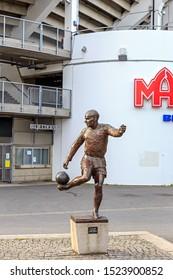 Gothenburg, Sweden - June 25, 2019: Gunnar Gren 1920-1991. Represents the legendary footballer Gunnar Gren about to make one of his heel kicks