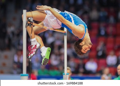 GOTHENBURG, SWEDEN - MARCH 2 Gianmarco Tamberi (Italy) places 5th in the men's high jump finals during the European Athletics Indoor Championship on March 2, 2013 in Gothenburg, Sweden.