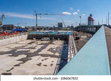 "Gothenburg, Sweden - May 02, 2018: Construction Site Building the New ""Hisingsbron"" in Gothenburg City"