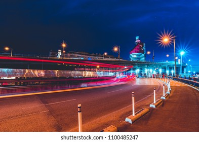GOTHENBURG, SWEDEN - MAY 08, 2018: The Skanska Skyscraper also known as The Lipstick in Gothenburg at dusk with beautiful light trails