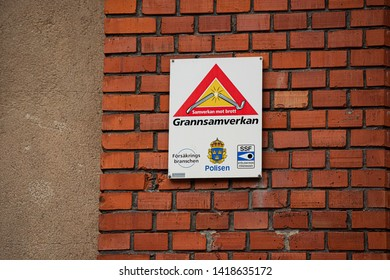 Gothenburg , Sweden - May 18 2019: A sign stating that Grannsamverkan, neighborhood watch, is active in the area.