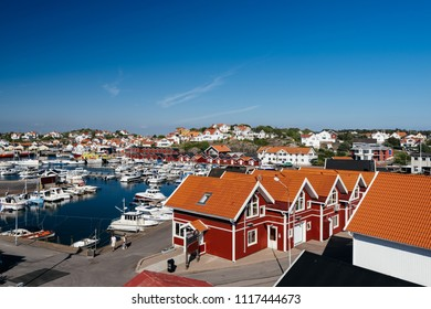 GOTHENBURG, SWEDEN - May 20, 2018: Elevated view of Styrso Town and the Styrso Marina. Styrso is a small island and a locality situated in Göteborg Municipality, Västra Götaland County, Sweden.