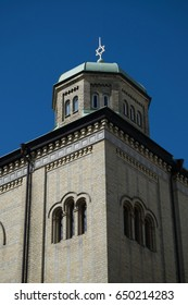 GOTHENBURG, SWEDEN - MAY, 2017: Details of the building of the synagogue in Gothenburg, Sweden.