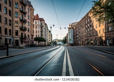 GOTHENBURG SWEDEN- MAY 26, 2018: Tram track with nice architecture building with overhead electricity wire for tramp system.