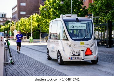 Gothenburg, Sweden - May 5th, 2019 : Self Driving Vehicle making test route in Public area of Lindholmen, Gothenburg