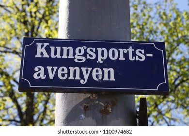 GOTHENBURG, SWEDEN - MAY 8, 2018: Kungsportsavenyn street sign in the city centre of Gothenburg, Sweden