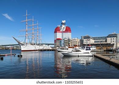 GOTHENBURG, SWEDEN - MAY 8, 2018: Summer view over the old harbor Lilla Bommen in Gothenburg, Sweden