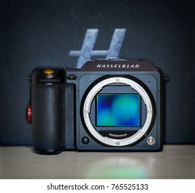 Gothenburg, Sweden - Nov 11, 2017: Hasselblad X1D 4116 limited edition. The X1D is the world's first medium format digital mirrorless camera, sporting a 51.6 megapixel 44x33mm CMOS sensor.