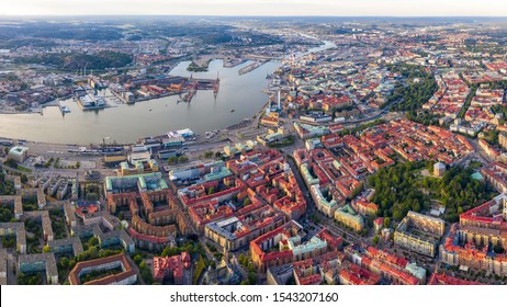 Gothenburg, Sweden. Panoramic aerial view of the city center in the evening. Sunset
