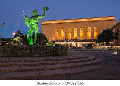 Gothenburg, Sweden - September 04 2016: One of the most famous square of Gothenburg, called Götaplatsen. Behind the statue of Poseidon there is Gothenburg's museum of art.