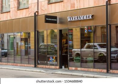 Gothenburg, Sweden - September 20 2019: Storefront of a Warhammer shop.