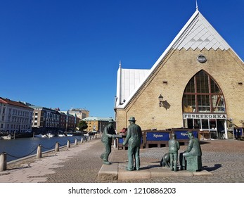 Gothenburg,Sweden-Circa September 2018: A brick Gothic church inspired building overlooking Rosenlund Canal is locally called the fish church that houses Gothenburg's fish market.