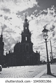 Gothic ancient cathedral and city square. Architecture of ancient Dresden, Germany