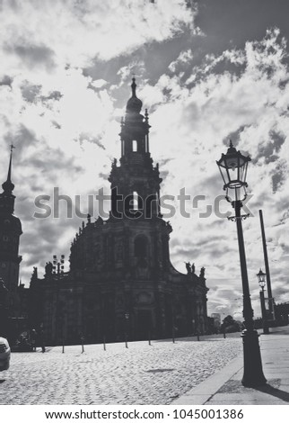 Gothic ancient cathedral and