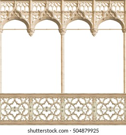 Gothic antique old arch on white background