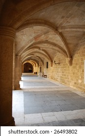 Gothic Arches Colonnade in the Palace of the Grand Master, Rhodes, Greece