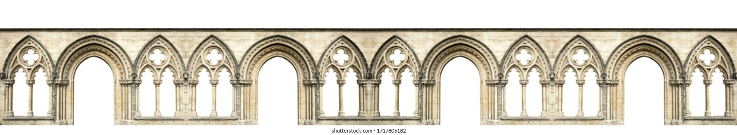 Gothic arches isolated on white background. Elements of architecture, ancient arches, columns, windows and apertures - Shutterstock ID 1717805182