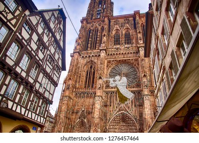 Gothic bell tower of  the Cathedral in Strasbourg, France