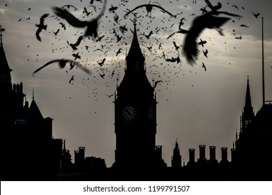 Gothic Big Ben with dark bird,  Photo manipulation