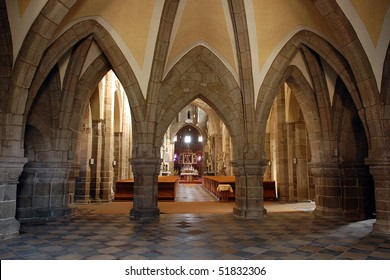 Gothic cathedral interior with altar in Trebic, Czech Republic