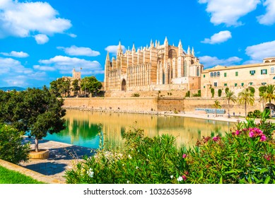 The gothic Cathedral La Seu at Palma de Mallorca islands, Spain