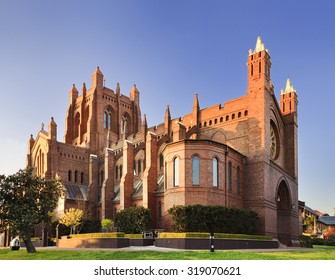 Gothic cathedral of Newcastle in Australia on a sunny bright morning with nobody around
