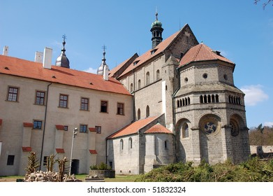 Gothic cathedral outside in Trebic, Czech Republic
