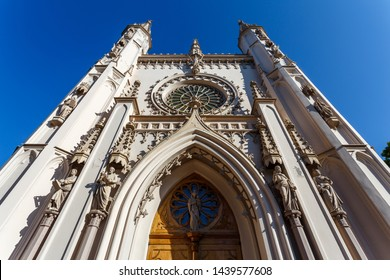 Gothic chapel in Alexandria park of Petergof town, Russia