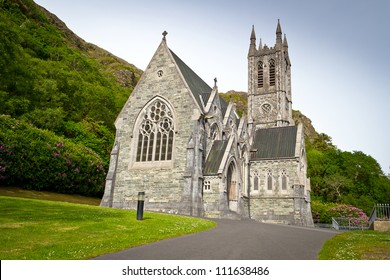 Gothic church in Connemara mountains, Ireland