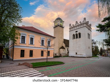 Gothic Church of St Giles (Kostol svateho Egidia) and Renaissance bell tower in the center of Poprad, Slovakia. Popular travel destination - Shutterstock ID 1914647746