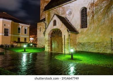 Gothic Church of St Giles (Kostol svateho Egidia) in the center of Poprad, Slovakia at the night. Popular travel destination - Shutterstock ID 1914647749