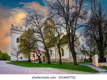 Gothic Church of St Giles (Kostol svateho Egidia) and Renaissance bell tower in the center of Poprad, Slovakia. Popular travel destination - Shutterstock ID 1914647752