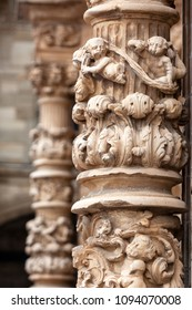 Gothic column carved in stone. Astorga cathedral