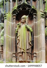 Gothic column statue of Saint David, the patron of Wales. At Chester Cathedral in the city of Chester, Cheshire, England