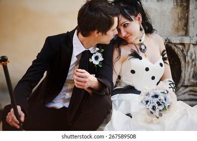 Gothic couple wedding. Lovelly portrait.